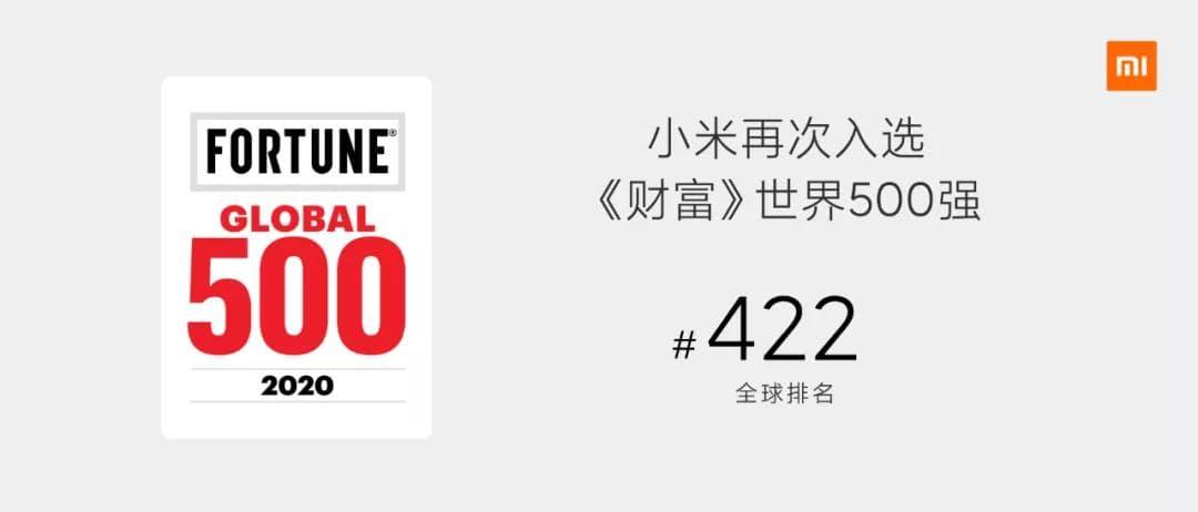小米再次入选了世界500强